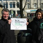 MP and campaigner holding the caption 'Say no to incineration. yes to recycling'