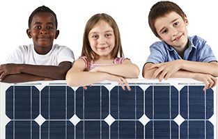 Kids and solar panel