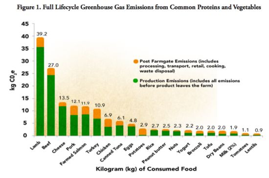 Full lifecycle Gfreenhouse gas emissions from common proteins and vegetables