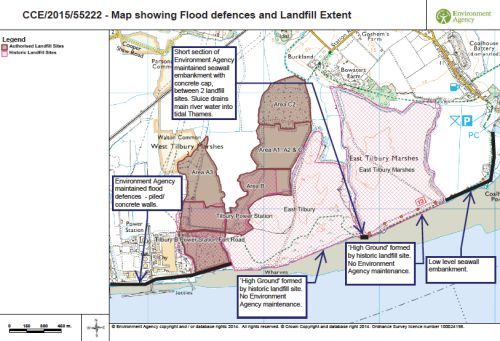Map showing flood defences and Landfill extent