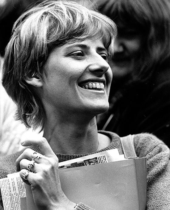 Petra Kelly at Green Party rally, Bonn 1982 © Press Association