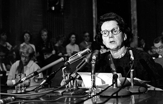 Rachel Carson urged Congress to curb the sale of chemical pesticides and aerial spraying. © Press Association