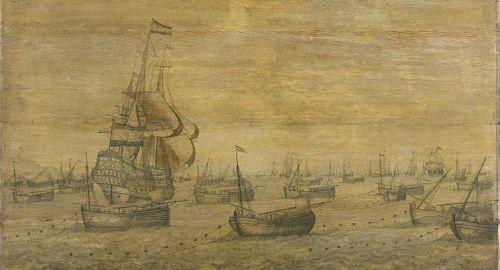 Dutch herring fleet in the North Sea, c1700, protected by a naval vessel. Pieter Vogelaer