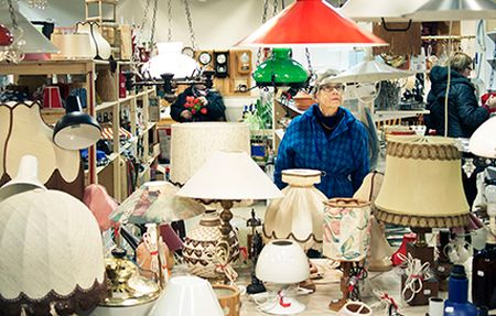 We need to fix our disposable culture and re-use. Image: second-hand lamp shop