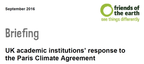 Briefing UK academic institutions response to the Paris Climate Agreement