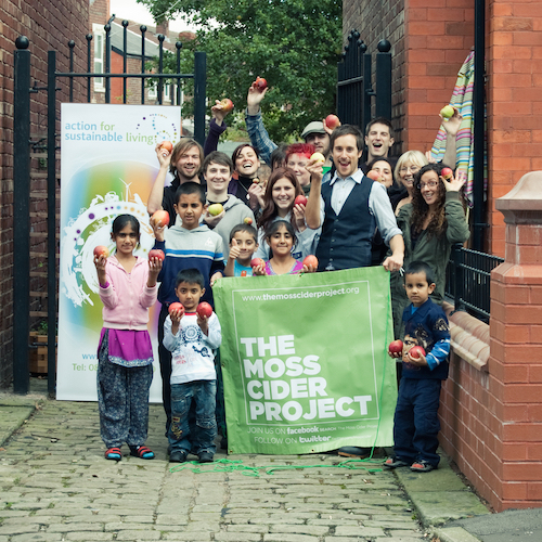 Moss-side community celebrating launch of project