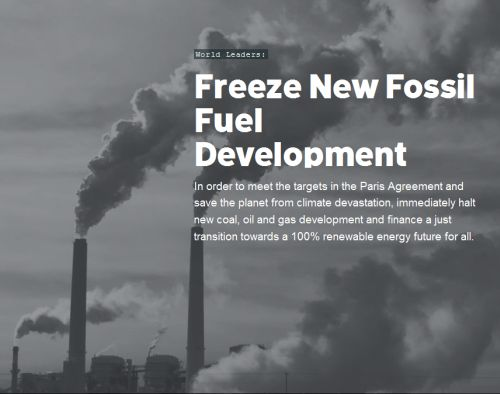 World leaders - Freeze New Fossile Fuel developments