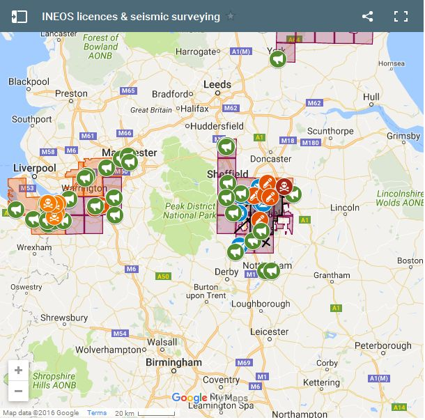 INEOS licences and seismic surveying map