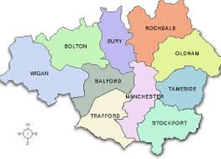 Outline map of Greater Manchester