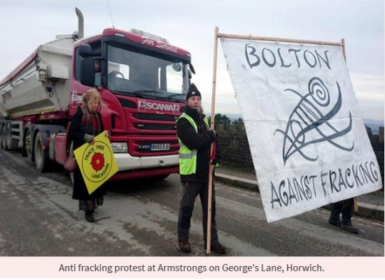 Anti fracking protest at Armstrongs on George's Lane, Horwich